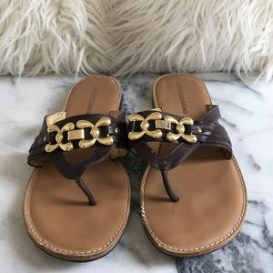 Arturo Chiang Brown and Gold Sandals Size 8.5